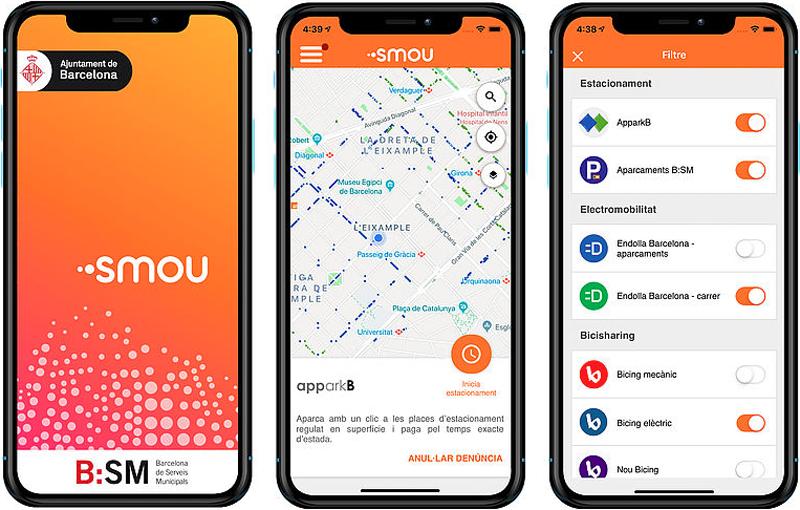 App Smou, del Ayuntamiento de Barcelona, sobre las formas de movilidad en la ciudad.