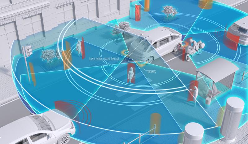 El coche de conducción autónoma de Navya dispone de 10 sensores Lidar, seis cámaras, cuatro radares, dos antenas GNSS y una unidad de medida inercial.