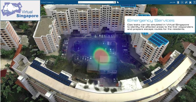 Simulación de una fuga de gas en la copia virtual de una zona de la ciudad para determinar las áreas que se verían afectadas y preparar rutas de evacuación para los residentes.