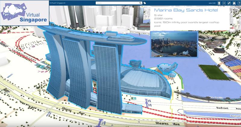 Virtual Singapur está basado en una plataforma de modelado semántico 3D que traslada al mundo virtual el mundo real.