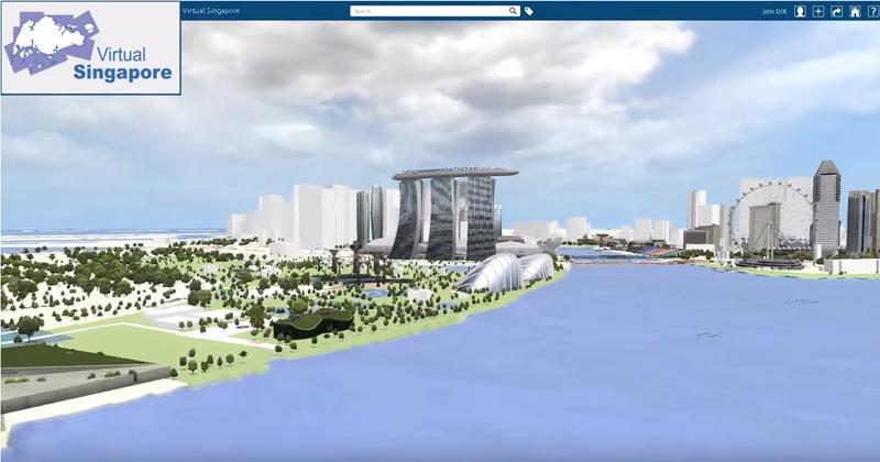 Imagen de Singapur Virtual con una réplica exacta en 3D de algunos de sus lugares más conocidos en la bahía de la ciudad.