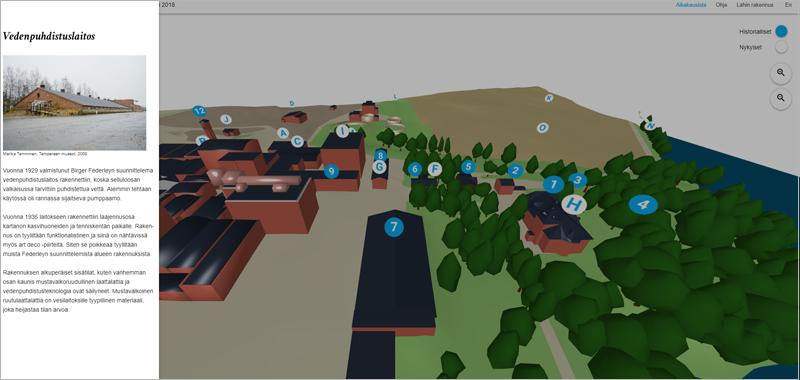 Uno de los pilotos en desarrollo en Hiedanranta es una guía urbana en 3D con información del distrito y sus edificios.