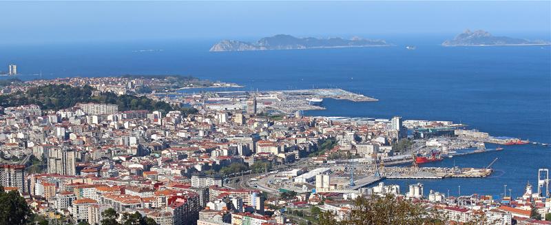 Vista de la ciudad de Vigo, que ha obtenido financiación de Red.es en el marco de la convocatoria Piloto de Edificios Inteligentes.