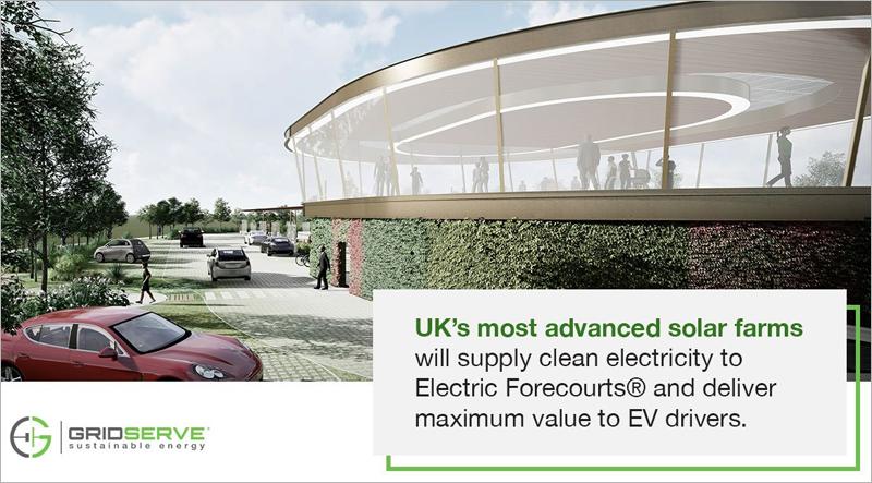 Gridserver promociona sus estaciones de carga como espacios con las más avanzadas instalaciones solares para producir energía verde y proporcionar la mejor experiencia a los conductores.