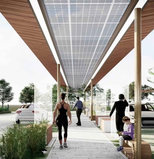 Pérgolas solares fotovoltaicas que, además de generar energía limpia, ofrecen sombra para descansar o estirar las piernas al aire libre durante el viaje.