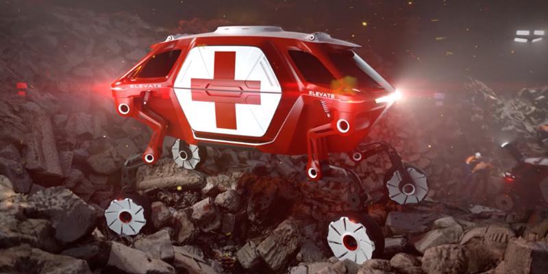 """Recreación del """"Elevator Walking Car"""", un coche con robótica integrada en una situación de emergencia en la que despliega sus patas para moverse por terrenos abruptos o escombros para el rescate de personas."""