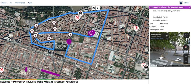 Mediante sistema GIS, se ofrece toda la información gelocalizada de afecciones en la vía pública, entre otros datos medioambientales y de transporte.