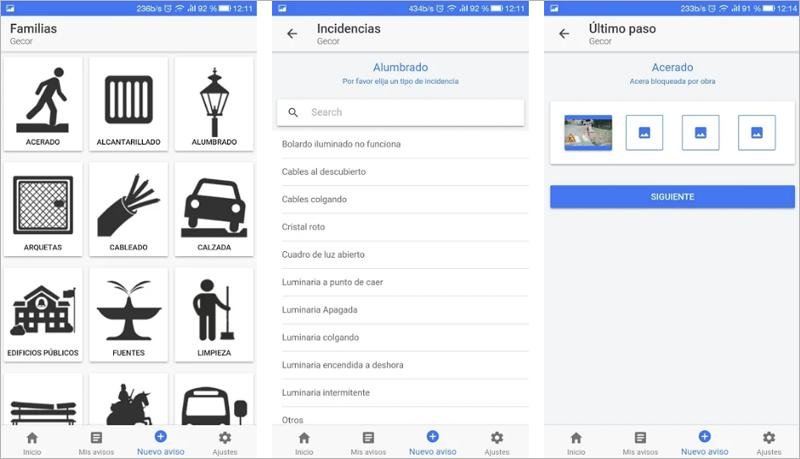 Interfaz de la aplicación Gecor que muestra diferentes pasos para comunicar incidencias que los ciudadanos pueden encontrarse en la ciudad de Torremolinos.