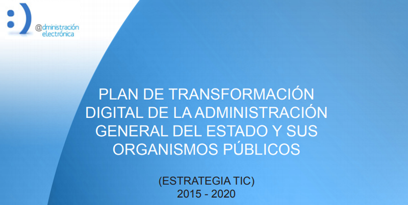 Portada del Plan de Transformación Digital para la Administración General y sus Organismos Públicos de España.