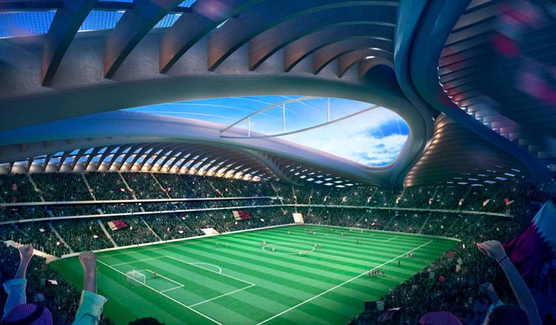 El diseño del estadio se inspira en un tipo de embarcación tradiconal árabe.