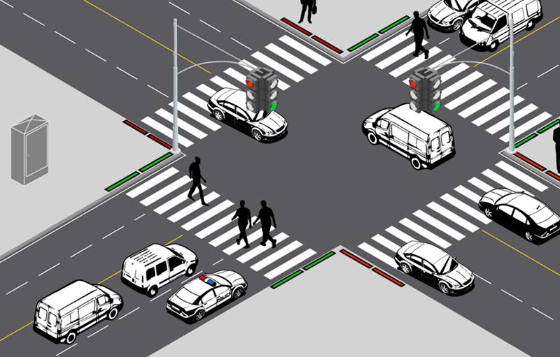 Ejemplo de cruces semafóricos y balizas con luces leds instaladas para avisar a los peatones distraídos con el móvil.
