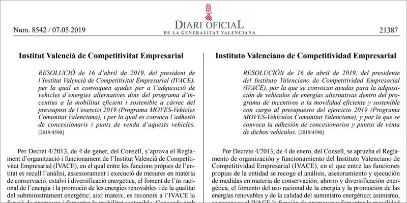 Extracto de la publicación en el Diario Oficial de la Generalitat Valenciana de la convocatoria de ayudas del Plan Moves para la Comunidad Valenciana.