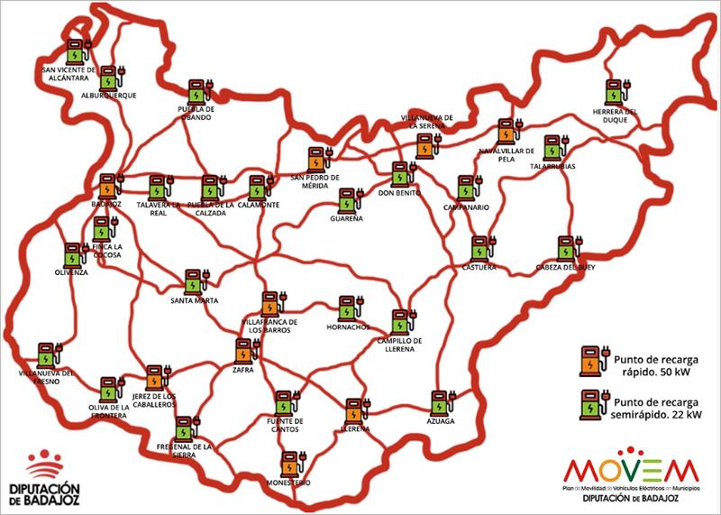Mapa de la provincia de Badajoz con la ubicación de los 32 puntos de carga de la red que acaba de sacar a concurso la diputación.