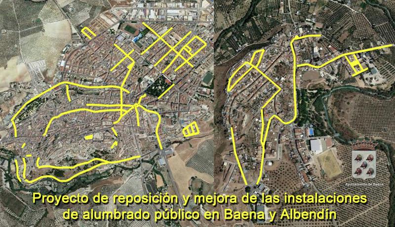 Trazado en amarillo de las calles de Baena (Córdoba) en las que serán sustituidos los actuales puntos de luz por luminarias LED que se sumarán al sistema de telegestión del alumbrado público del municipio.