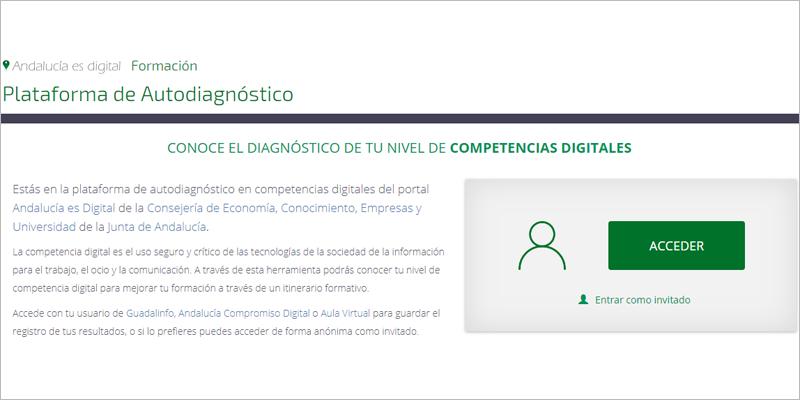 Interfaz de la plataforma online de autoevaluación de competencias digitales de la Junta de Andalucía.