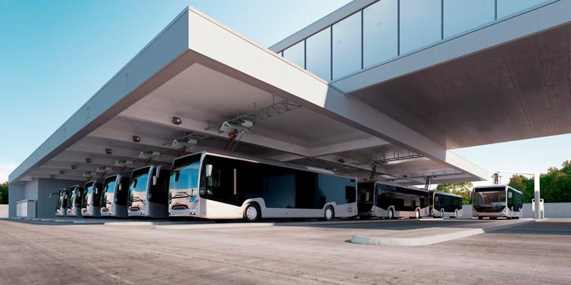 Imagen por ordenador de una estación de autobuses con cargadores mediante pantógrafo de ABB. Image: Twitter ABB.
