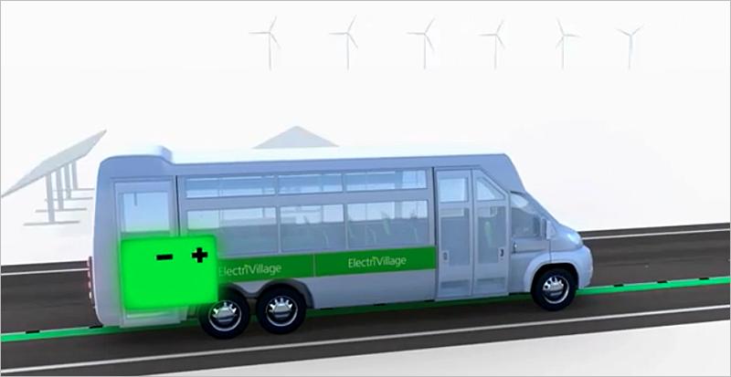 Los vehículos entran en contacto con el minicarril conductor de la energía de forma que puede ir recargando la batería mientras está en movimiento. Imagen: Elonroad