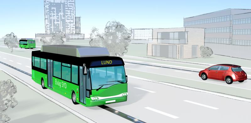 Infografía del proyecto que se desarrolla en la ciudad de Lund, en la que la recarga en movimientos se hace mediante un sistema de alimentación a nivel de suelo. Infografía: Elonroad