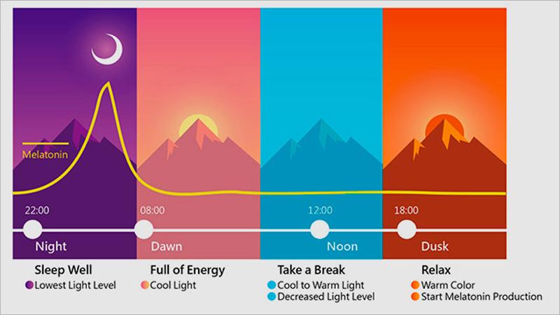 Esquema de funcionamiento del reloj biológico vinculado a la luz y la segregación de hormona del sueño (melatonina) y su relación con la percepción de la luz en cada momento del día. Infografía: Setga