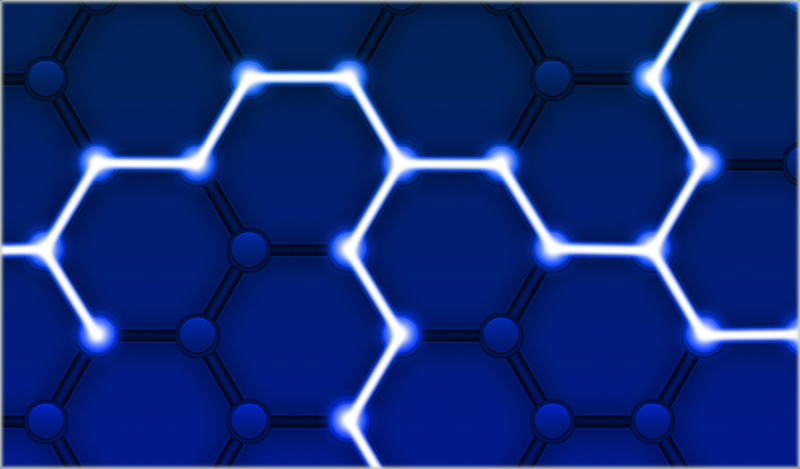 Estructura con forma de colmena formada por hexágonos unidos. El proyecto aplicará la tecnología blockchain para la protección de la red eléctrica en Estados Unidos.