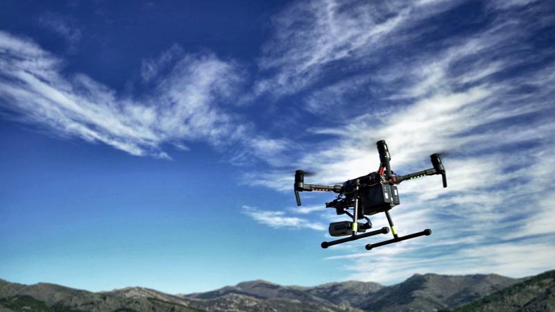 En la imagen, el dron con el que se ha llevado a cabo el piloto conjunto en la sierra de Madrid para la detección temprana de incendios forestales.