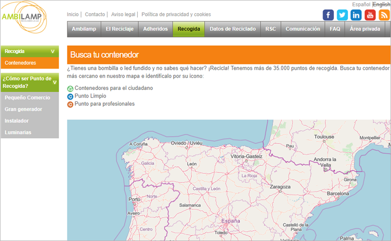 El mapa interactivo de Ambilamp muestra los contenedores para ciudadanos, los puntos limpios y los puntos para profesionales donde se pueden llevar a reciclar las bombillas y fluorescentes fundidos.