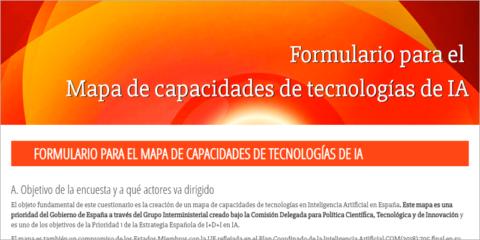 El Ministerio de Ciencia publica un formulario para desarrollar un mapa de tecnologías de inteligencia artificial en España