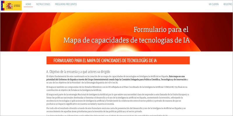 El ministerio ha lanzado un microsite donde se explica en qué consiste el formulario y el futuro mapa de capacidades de tecnologías de inteligencia artificial, y se pueden consultar las instrucciones para participar.