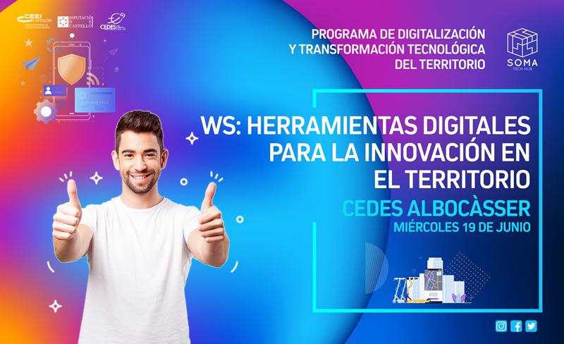 Cartel que anuncia uno de los talleres que van a celebrarse en los centros CEDES de la provincia de Castellón dentro del Programa de Digitalización y Transformación Tecnológica del Territorio.