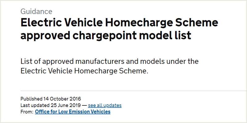 La lista de modelos de puntos de carga aprobados por el Esquema de homologación de vehículos eléctricos del Reino Unido se puede consultar en la web del Ejecutivo.