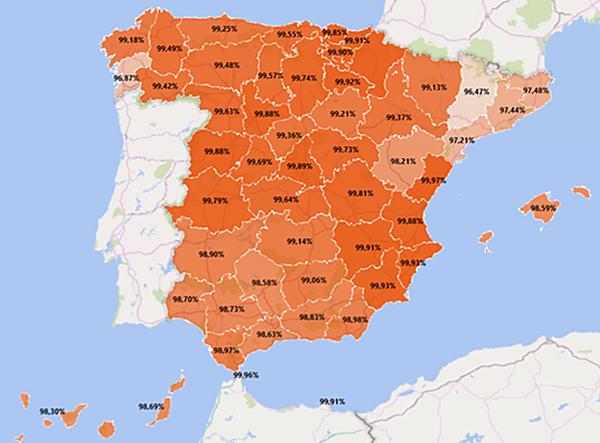Porcentajes de contadores inteligentes instalados en cada una de las provincias de España. Imagen: CNMC.