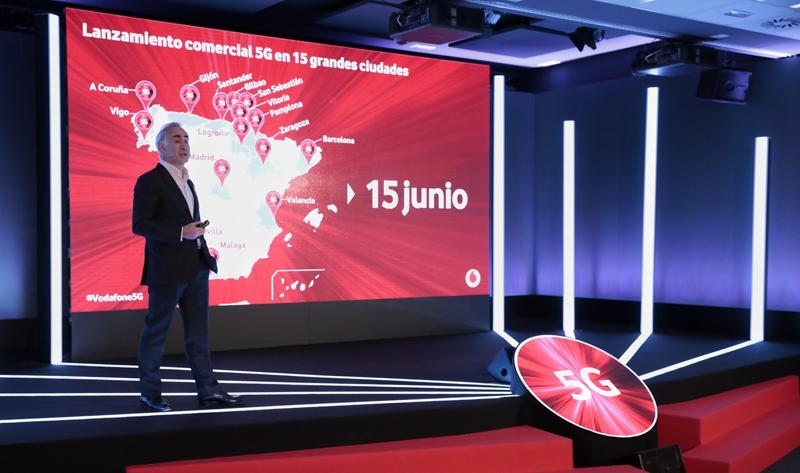 Antonio Coimbra, CEO de Vodafone España, anunció este lunes la llegada de los servicios comerciales 5G el próximo sábado a 15 ciudades españolas.