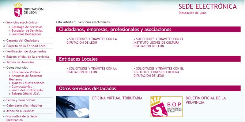 Interfaz de la Sede Electrónica de la Diputación de León que termina de implantar la plataforma de Administración electrónica este mes de julio.