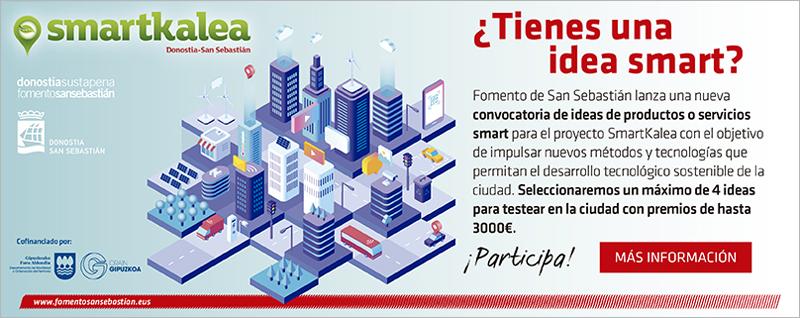 Las empresas y personas interesadas en presentar una idea de producto o solución de ciudad inteligente a la convocatoria dentro del proyecto SmartKalea de Fomento de San Sebastián pueden hacerlo hasta el 15 de septiembre.
