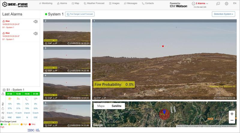 Pantallas de monitorización de zonas que ofrece el sistema, basado en inteligencia artificial, videovigilancia y termografía, para calcular la probabilidad de que ocurra un incendio.