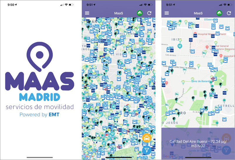 Figura 5. Pantallas reales de MaaS Madrid App.
