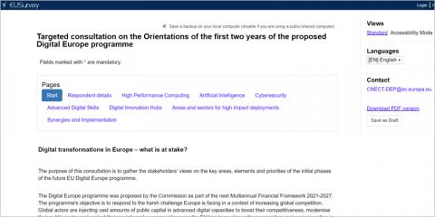 La Comisión Europea abre una consulta pública para orientar los dos primeros años del programa Europa Digital