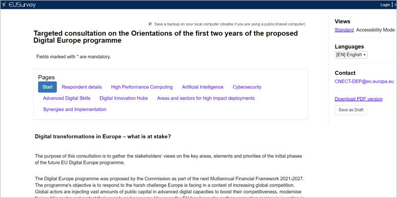 Extracto de la consulta pública lanzada por la Comisión Europea para conocer opiniones y propuestas que incorporar a la planificación de los dos primeros años del programa Europa Digital para el periodo 2021-2027.