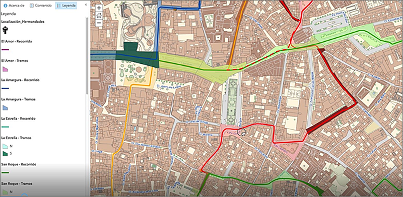 Figura 2. Mapa del seguimiento en tiempo real de las cofradías.