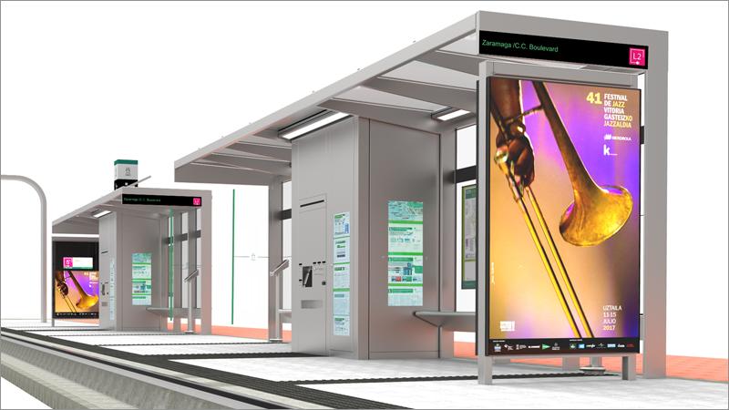 Infografía que muestra el diseño que tendrán las marquesinas del Bus Eléctrico Inteligente (BEI) de Vitoria.