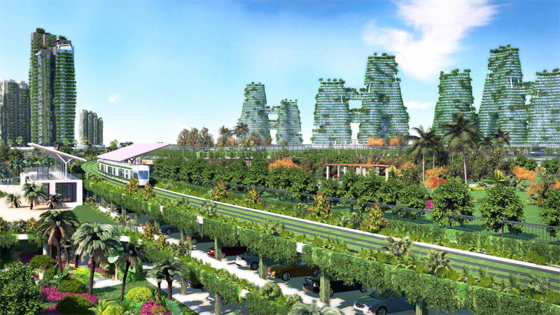 La vegetación es una de las características de esta ciudad en construcción que quiere facilitar un transporte sostenible a sus residentes.