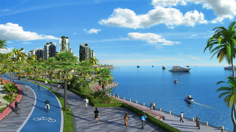 """Paseo con carril bici e imagen de parte de la costa de """"Country Garden Forest City""""."""