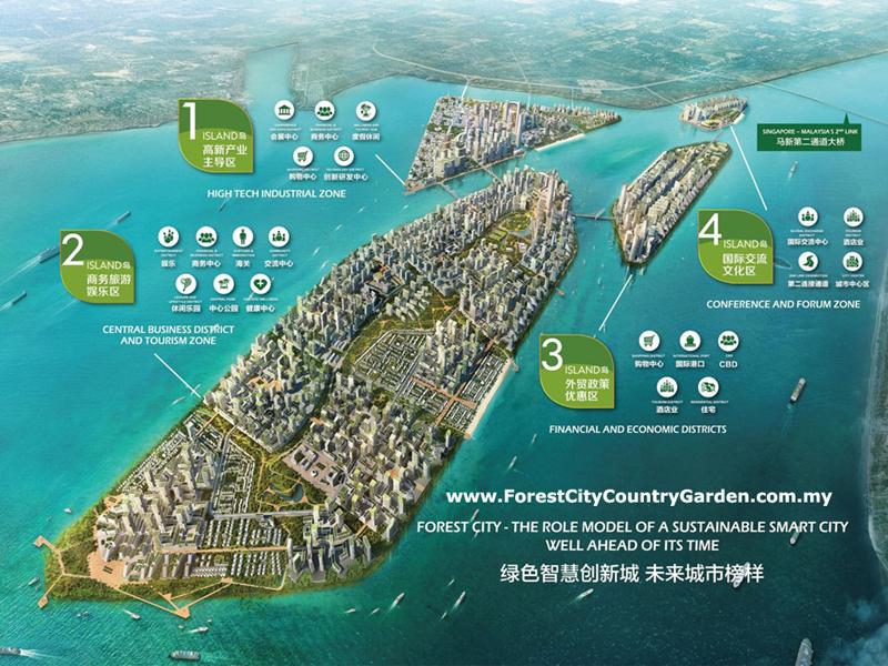 """""""Country Garden Forest City"""" está formada por cuatro islas artificiales con las que construir una ciudad inteligente y sostenible desde cero en Malasia."""