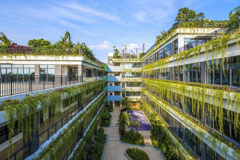 Una gran parte de los edificios proyectados cuentan con jardines verticales.