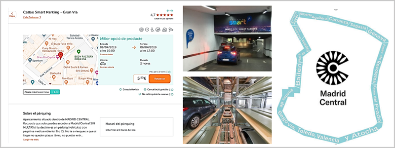 Un plano, dos imágenes de aparcamientos y el dibujo de Madrid Central.