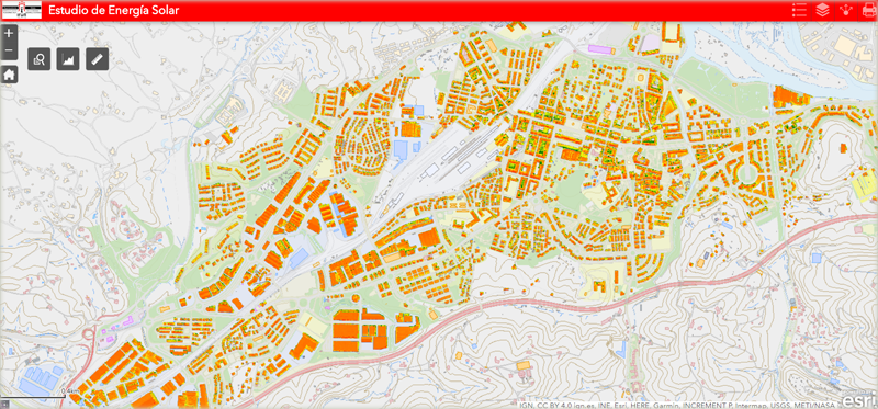 Visor en el que se muestra un mapa que representa el estudio de energía solar del Ayuntamiento de Irún.