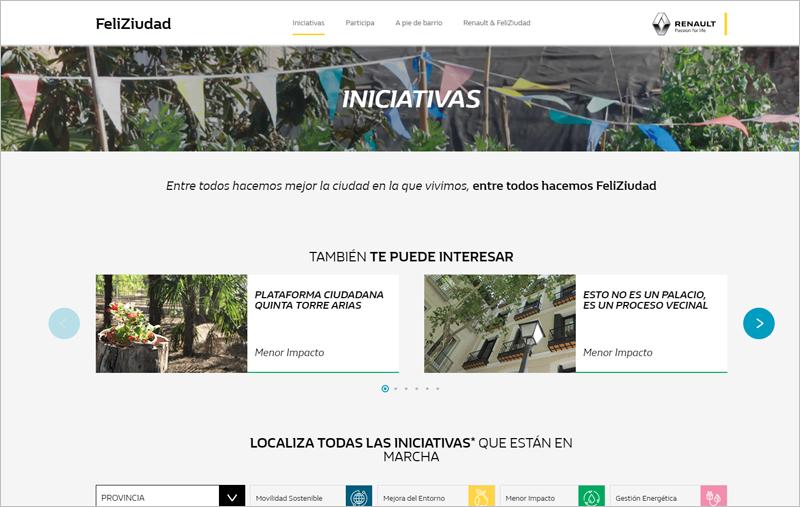 interfaz de la web FeliZiciudad