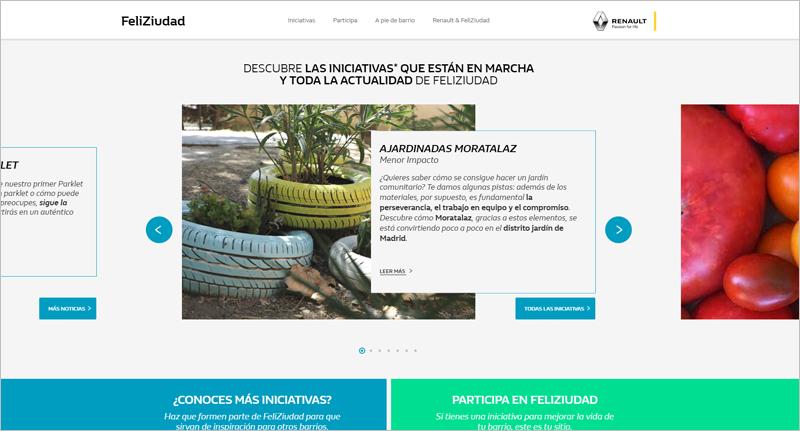 Interfaz de la plataforma FeliZiudad