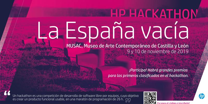 """Cartel que anuncia el Hackathon """"La España Vacía"""" en el Museo de Arte Contemporáneo de Castilla y León (MUSAC) entre los días 9 y 10 de noviembre.."""