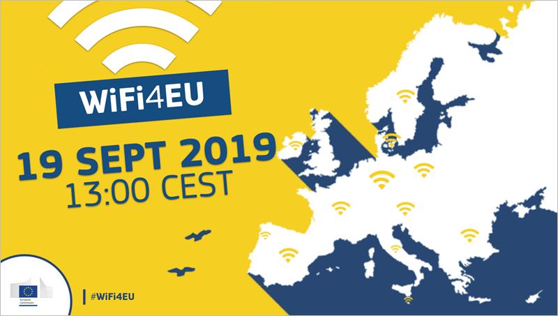 Imagen con mapa de Europa lleno de símbolos de cobertura wifi y la fecha impresa con la apertura de la convocatoria.
